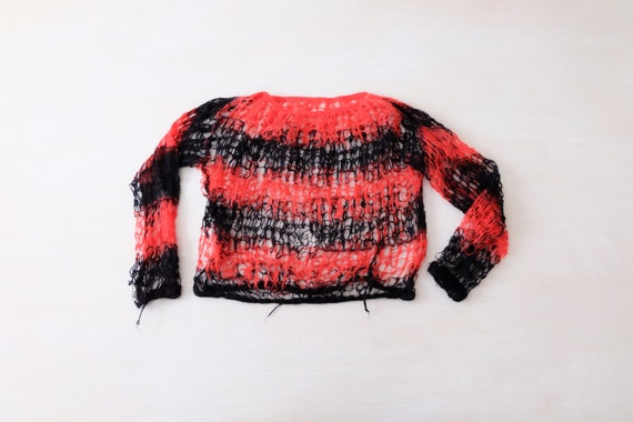 Vintage 70s Red and Black Hand Knitted Mohair Jump