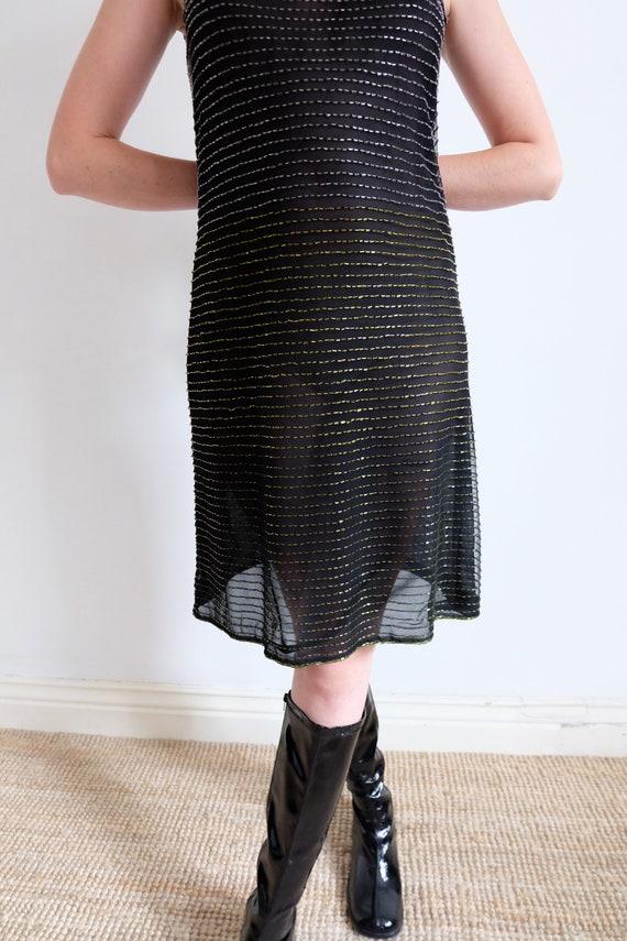Vintage 90s Black Beaded Mesh Slip Dress - image 5
