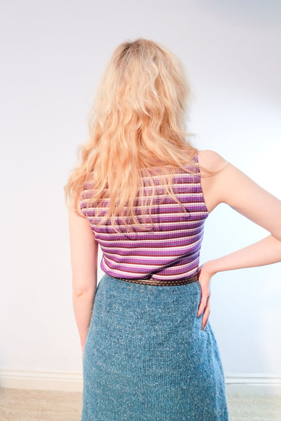 Vintage 90s does 70s Purple Striped Sleeveless Tu… - image 5