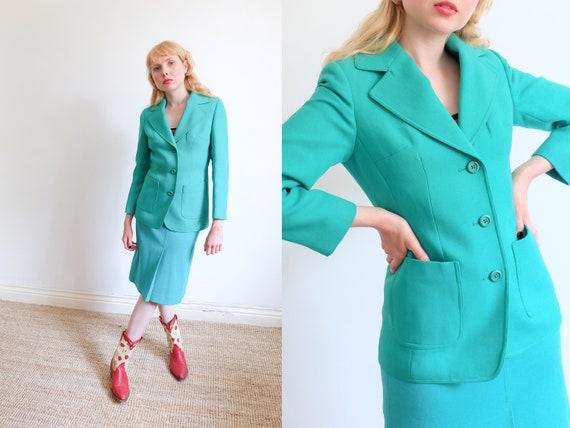 Vintage 80s Green Skirt Suit