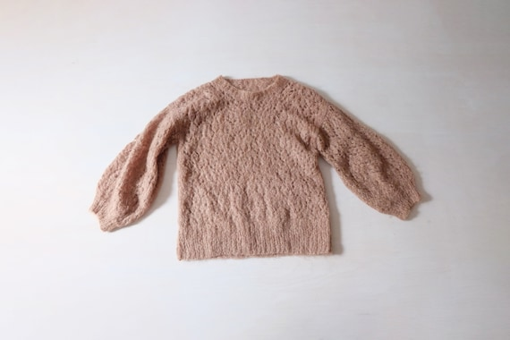 Vintage 80s Beige Hand Knitted Mohair Jumper