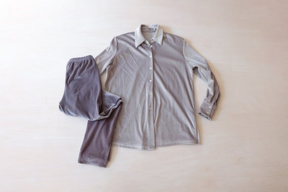 Vintage 80s Grey Velvet Co-ord Trousers and Shirt