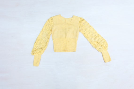 Vintage 60s Yellow Hand Knitted Jumper