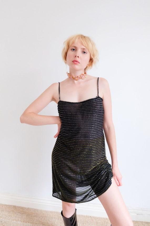 Vintage 90s Black Beaded Mesh Slip Dress - image 4
