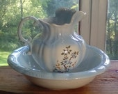 Vintage large pitcher and wash basin antique dry sink ceramic ewer bowl powder baby blue ivory floral flowers shabby chic farmhouse decor