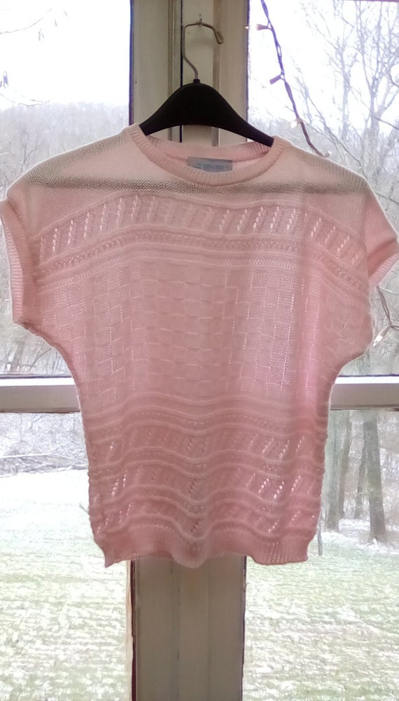 Vintage Liz Baker pink sheet knit short cap sleeve