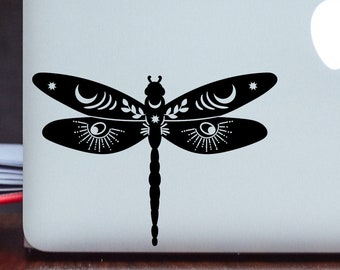 Dragonfly Decal - Celestial Decal - Moon Decal - Mystic Decal - Dragonflies Sticker - Wiccan Decal - Tumbler Decal