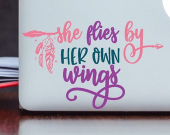 She Flies by Her Own Wings Vinyl Decal Sticker - Boho Decal