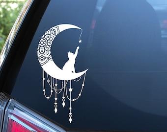 Celestial Cat Mandala on Moon Vinyl Decal - Moon Mandala - Celestial Sticker