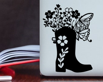 Country Flower Decal - Floral Laptop Decal - Butterfly Cowboy Boot Decal