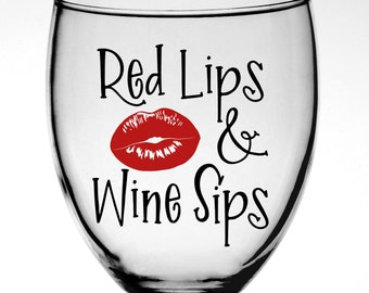Red Lips & Wine Sips Vinyl Decal - Bachelorette Party Favor