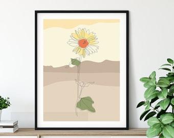 Abstract Sunflower Art Prints | 8x10, 11x14 | Set of 2 Prints | Unframed | Giclee | Free US ship | Modern Minimalist Floral Wall Art