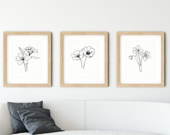 11x14 Black and White Botanical Art Prints | Anemones, Daffodils, Lilies | Giclee Prints | Set of 3 | Unframed