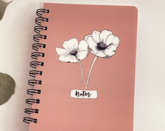 Anemone Flower Spiral Notebook 5x7 | Lined Paper | Glossy Hardcover | Peachy Pink | Floral Journal