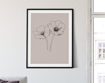 Taupe Anemone Botanical Art Print | 8x10, 8.5x11, 11x14 | Unframed | Giclee | Free US ship | Modern Minimalist Floral Wall Art