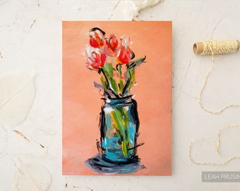 Peach Tulips Art Print 8x10 | Floral Wall Art - Free US Ship | Giclee Print | Unframed | Abstract Flowers