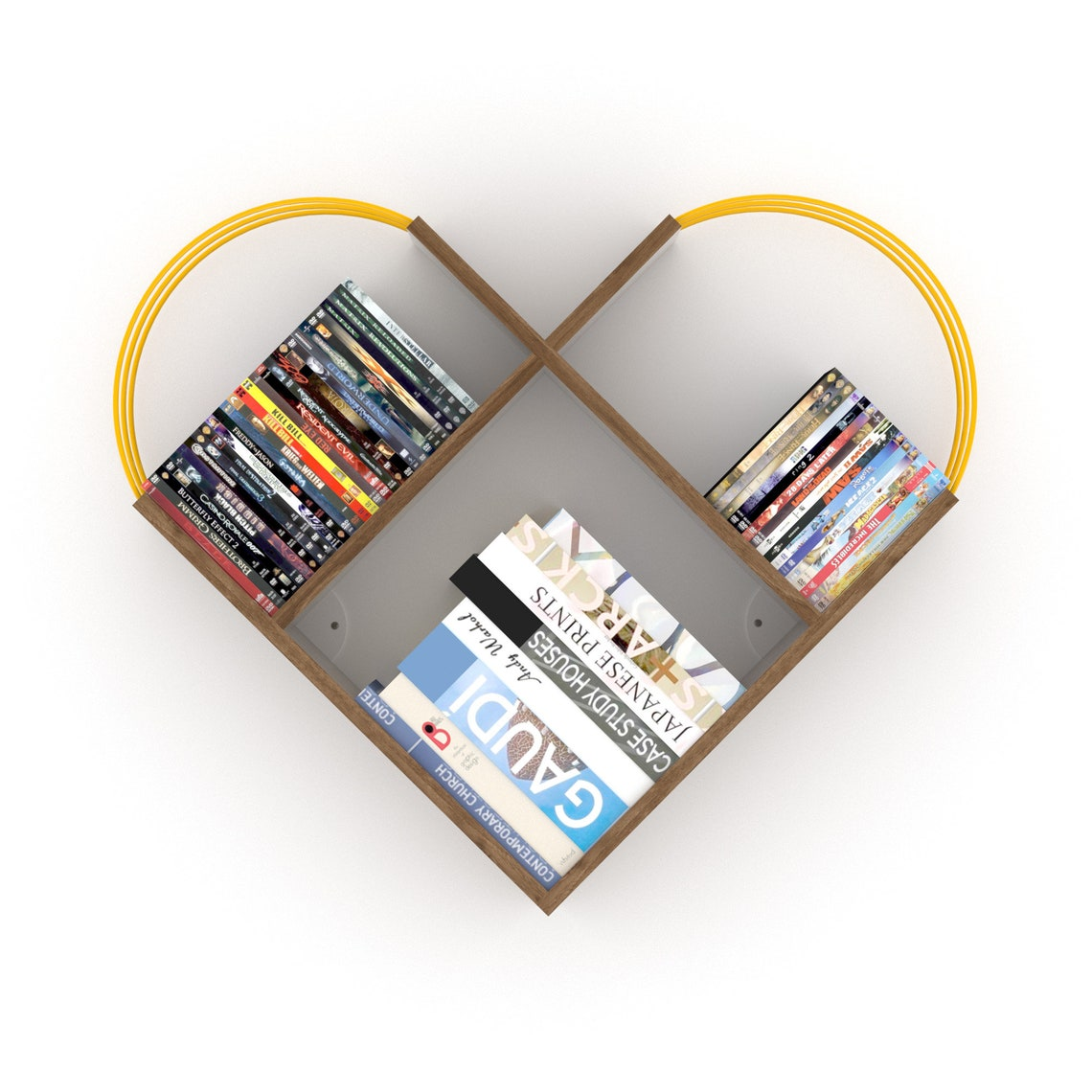 Case Wall Shelf Modern Design (Walnut-Yellow), Wall Book Case