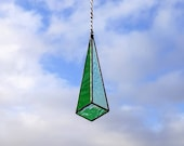 Stained glass geometric suncatcher drop - green with iridescent. Free UK delivery Gift idea