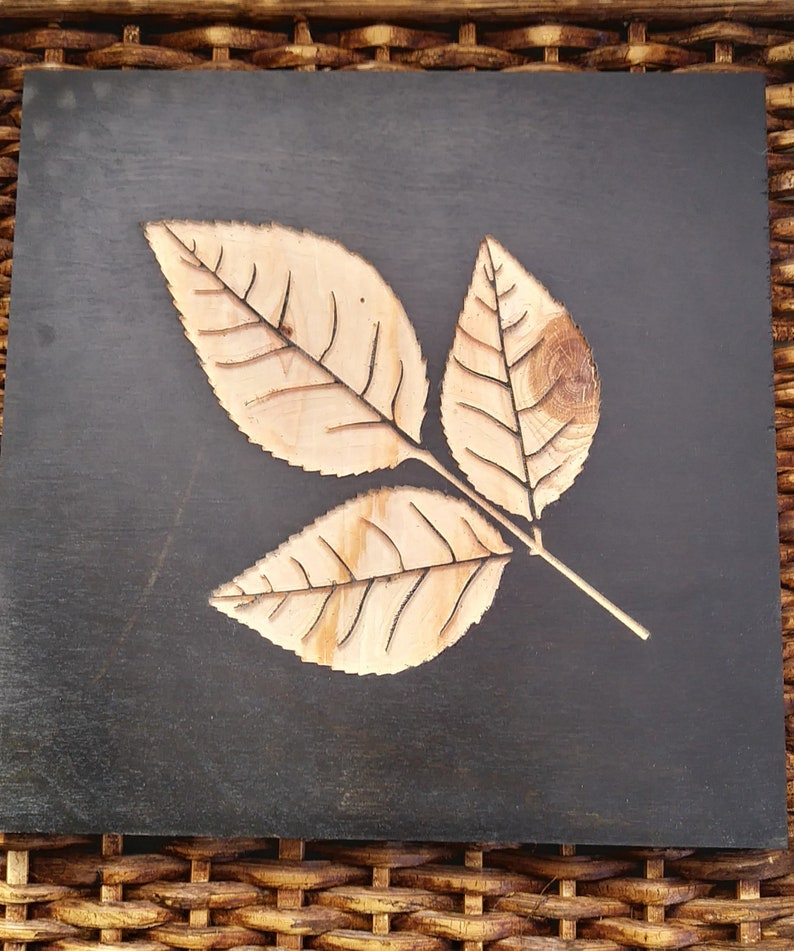 Wall Art Set Engraved Leaf Pictures Wooden Wall Art Set Of 4 10x10 Leaf Pictures