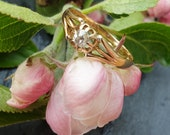 18 Carat Old Cut Solitaire Diamond Gypsy Style Ring Unisex Size K1 2