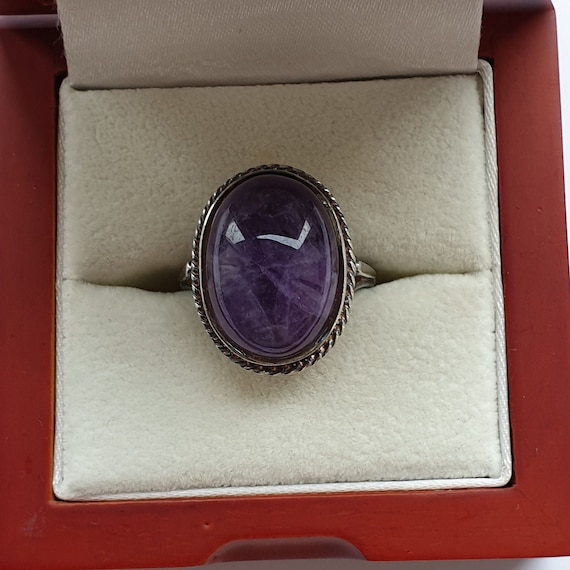 Vintage Amethyst Ring In Silver,Ring Size P, Caboc