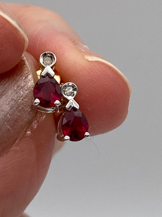 Beautiful 9 Carat Ruby and Diamond Teardrop Earrin