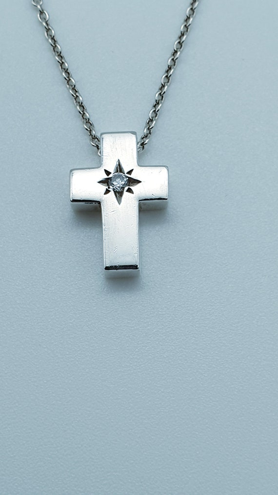 """Small Cross Pendant 925 Sterling Silver 18"""" Necklace Christening Gift UK"""