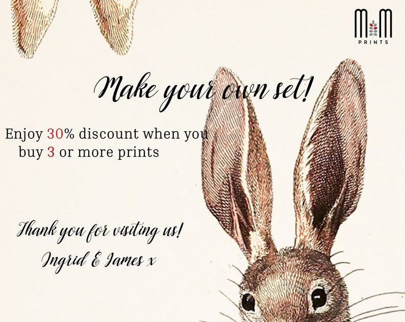 Rabbit print Woodland nursery wall art Kids room decor Printable nursery art Downloadable antique animal print Illustration Poster Bunny