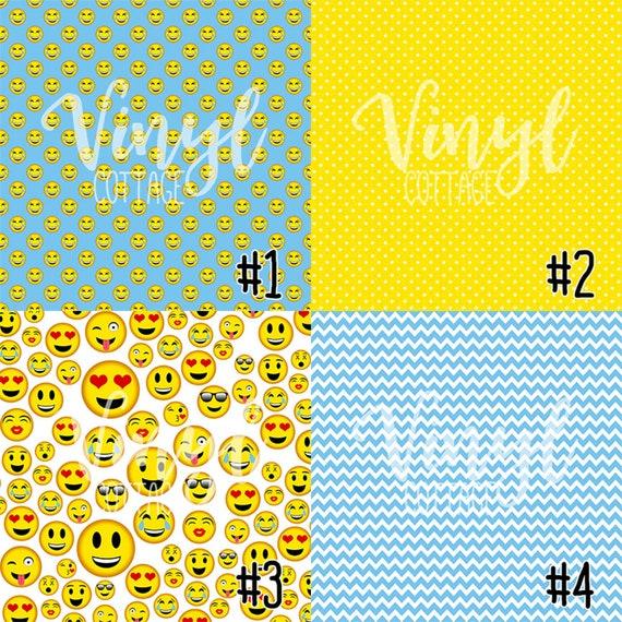 Iron on Vinyl Printed HTV Emoji Patterned HTV Adhesive Vinyl- 189