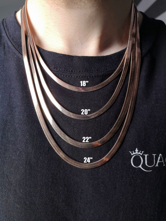 Snake Flat Herring bone silver gold rose gold chain necklace choker stainless steel necklace snake chain necklace