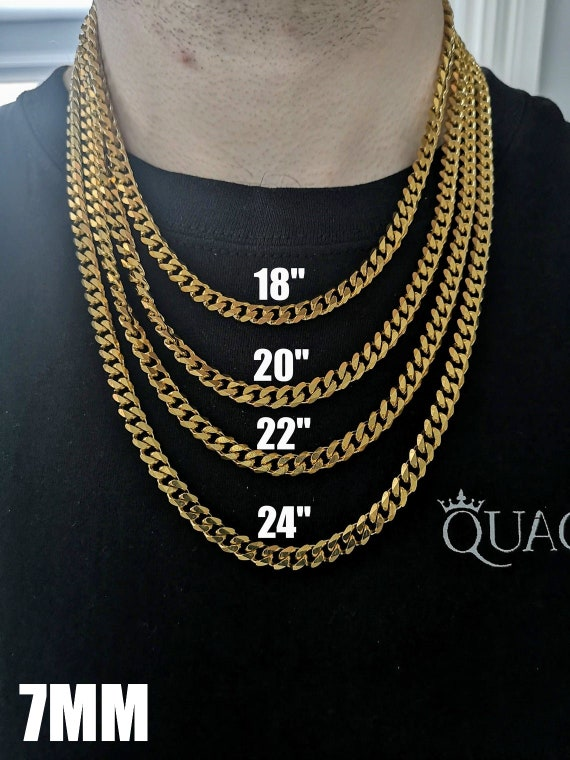 18k Gold Chain Miami Cuban Link Chain Gold Cuban Link Etsy
