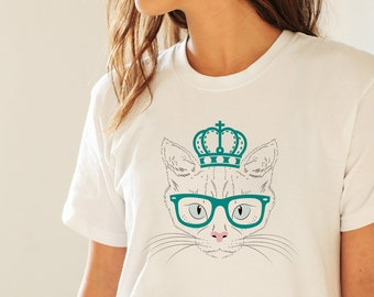 8d059911bb Princess Queen Funny Cat T-shirt Tee Shirt Animal T-shirt Unisex Man Woman  Ladies Shirt Gift Her Gift Him T-shirt Gift High Quality T-shirt