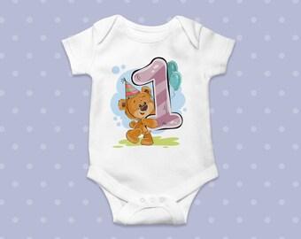 First Birthday Bodysuit 1st Baby Body Boys Girls Gift 1 Years Old Clothing