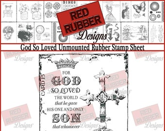 God So Loved Unmounted Rubber Stamp Sheet