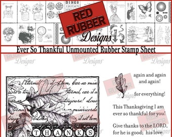 Ever So Thankful Unmounted Rubber Stamp Sheet