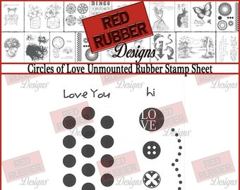 Circles of Love Unmounted Rubber Stamp Sheet