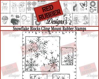 Snowflake Blocks Cling Mount Rubber Stamps