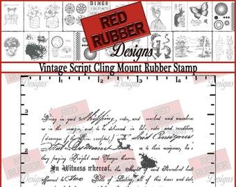 Vintage Script Cling Mount Rubber Stamp