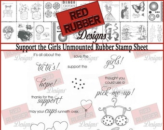Support the Girls Unmounted Rubber Stamp Sheet