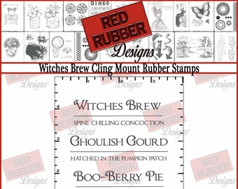Witches Brew Cling Mount Rubber Stamps