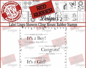 Label Lingo Showers Cling Mount Rubber Stamps