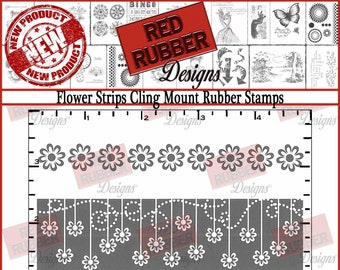 Flower Strips Cling Mount Rubber Stamps