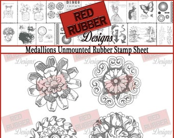 Medallions Unmounted Rubber Stamp Sheet