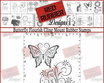 Butterfly Flourish Cling Mount Rubber Stamps