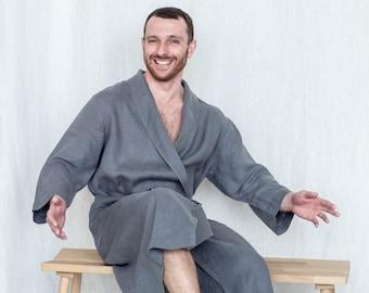 Gray linen robe for men - Dressing gown