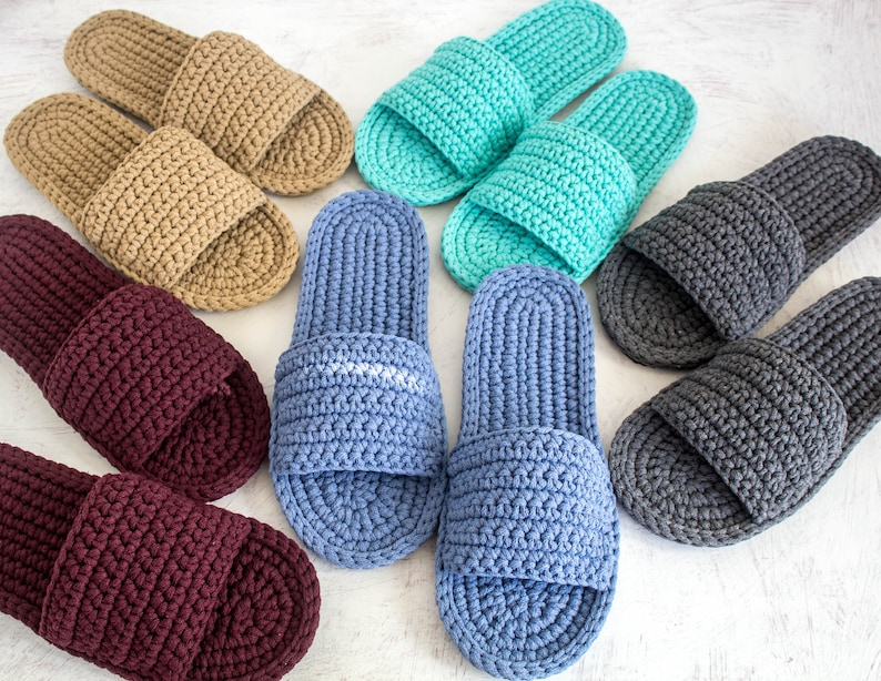 6566b0df65d49 Slippers men with sole - Crochet groom slippers - Mens gift - Knitted mens  boots - Flat shoes - Handmade mens sandals