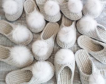 Gray crochet slippers - Bride slippers - Bridesmaid slippers - Bridesmaid gift