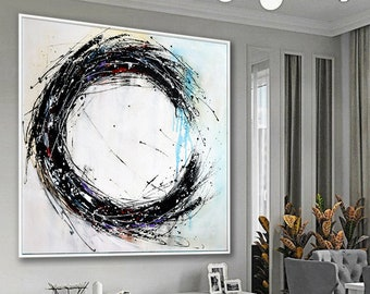 Extra Large Paintings On Canvas Abstract Art Black And White Circle Painting Modern Wall Art Oil Painting White Artwork For Living Room