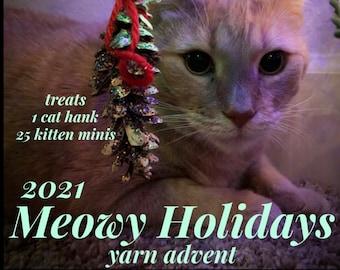 Pre Order, Meowy Holidays, yarn advent, yarn advent calendar, yarn advent 2021, 25 mini skeins/ 1 full skein, 85 Superwash Merino 15 Nylon