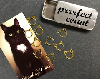 Cat stitch markers- 10 gold/silver kittens, 12mm x 12mm, no snag markers, kitty stitch markers, cat knitting stitch markers, knit gift
